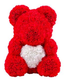 oso rojo de rosas