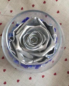 rosa vaso plateada