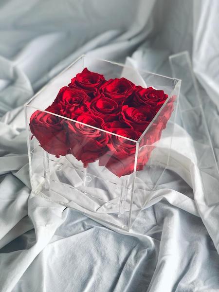 caja de metacrilato con 9 rosas